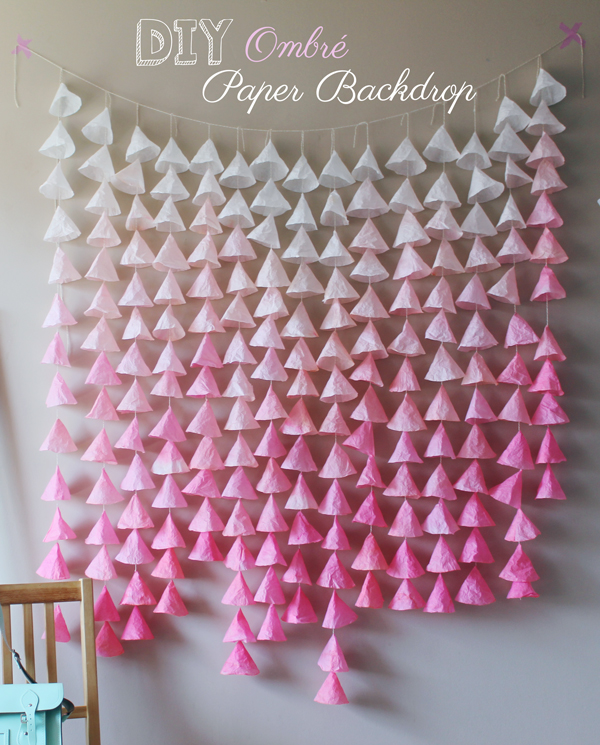 dreamy diy ombré paper backdrop boots and cats