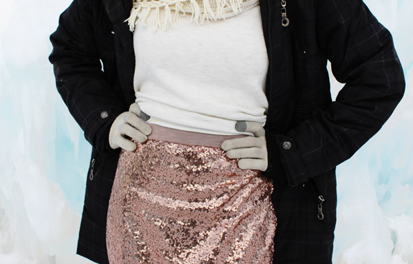 DIY Sequin Maxi Skirt // Boots & Cats