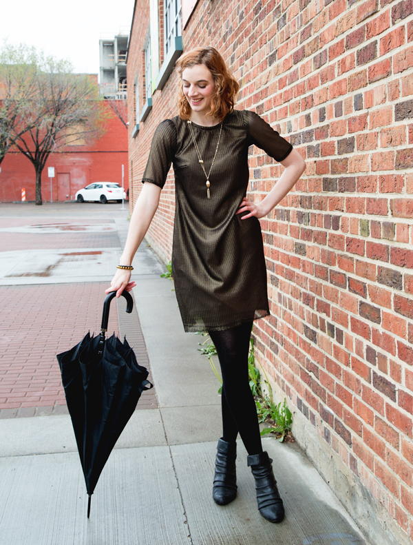 Metallic Colette Laurel Dress // Boots and Cats